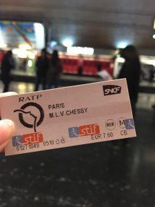 パリの地下鉄  ZONE5の切符 ディズニーランド行き