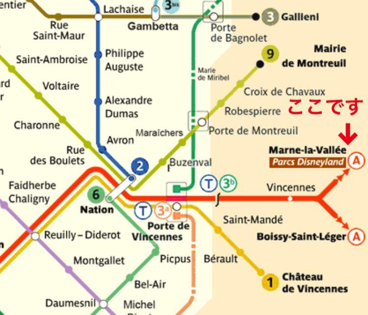 ディズニーランドパリへのアクセス地下鉄メトロ路線図マップ
