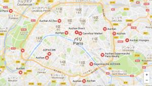 パリのスーパー Auchan 場所map