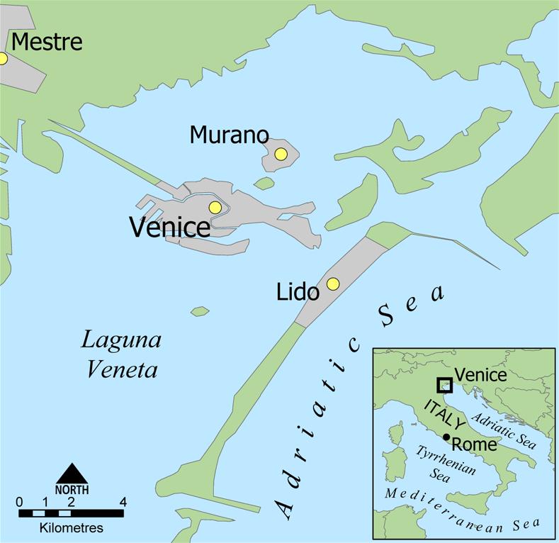 ベネチアの離島リド島へのアクセスmap