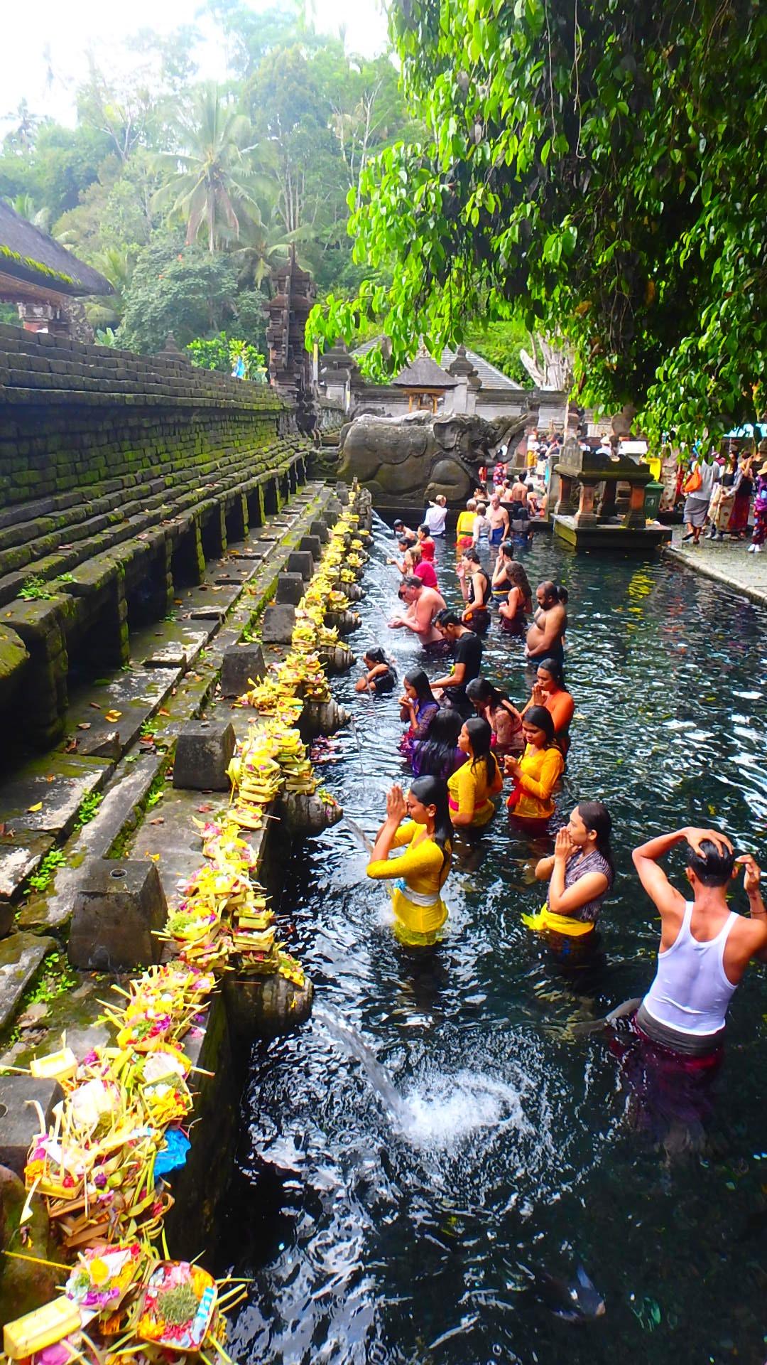 バリ島ティルタウンプル寺院の聖水で巡礼する信者