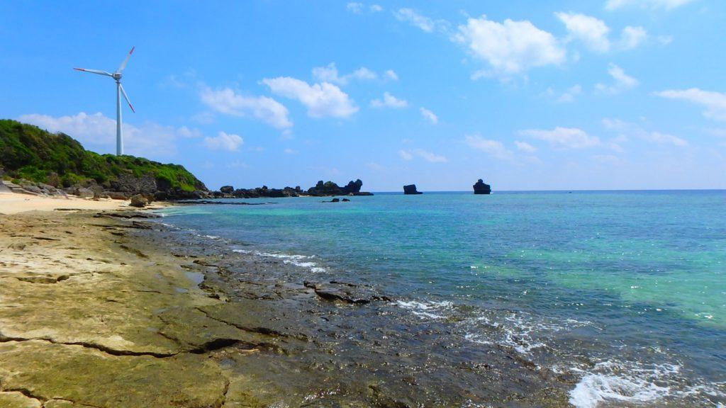 与論島 風車と前浜海岸