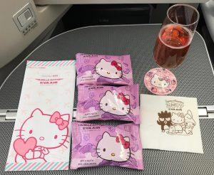 エバー航空 キティちゃん仕様のビジネスクラス