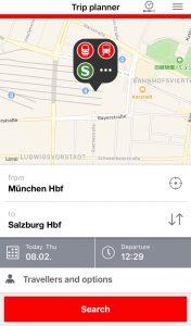バイエルンチケット DB 電車の時刻表