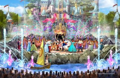 新しい香港ディズニーランドのお城前のショースペース