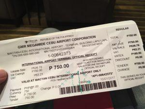 フィリピン出国税 空港使用料 ターミナルフィー 750ペソ