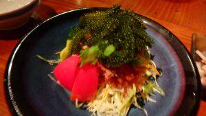 石垣島でおすすめの焼肉屋さん 石垣屋の海藻サラダ 海ぶどう