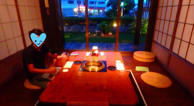 石垣島の焼肉 石垣屋の半個室 2名