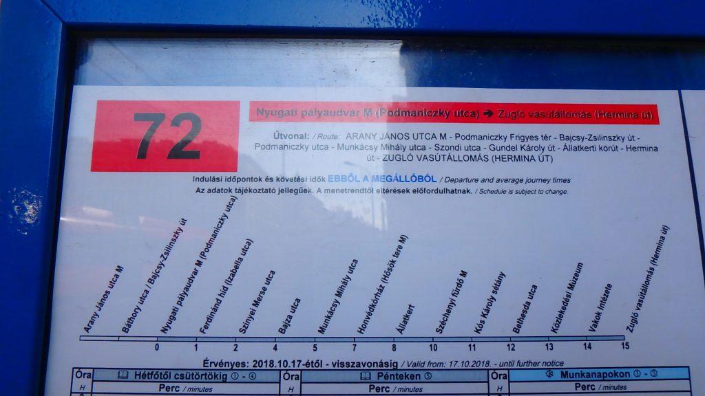 ハンガリー グンデルへのアクセス 72番系統のバス