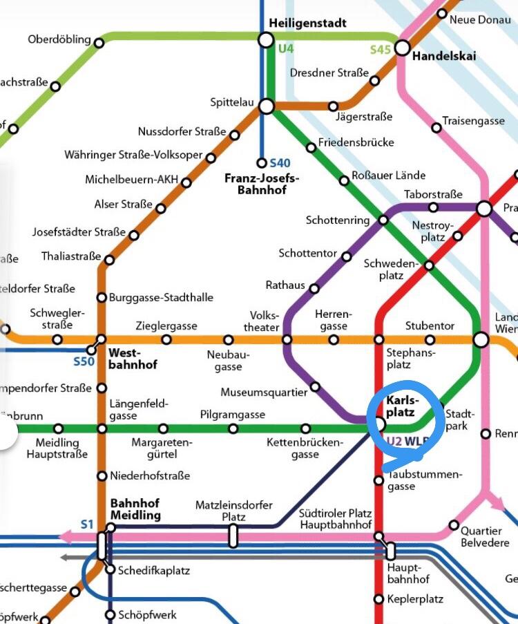 ホテルザッハーへの行き方 ウィーン メトロ map
