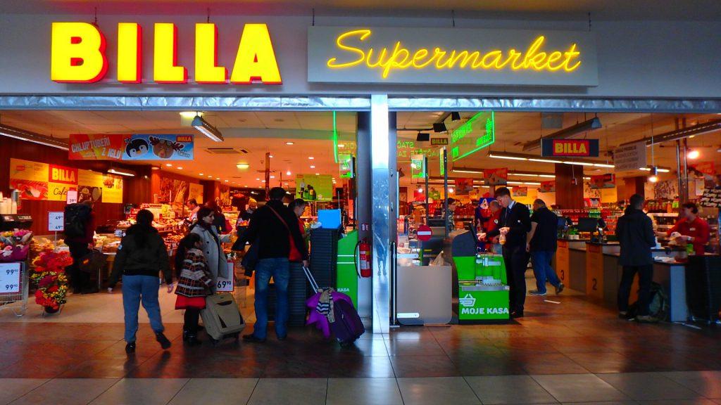プラハ空港内のスーパー BILLA