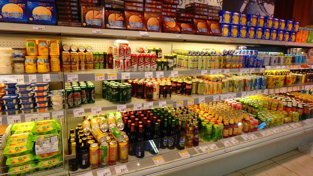プラハ空港のスーパー ビール