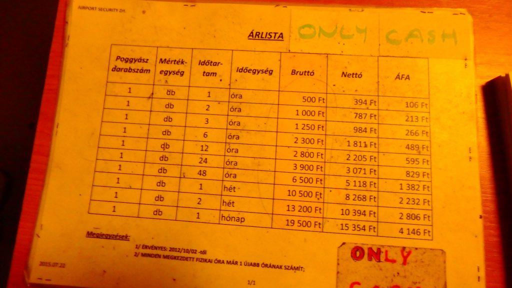 ブダペスト空港のコインロッカー料金