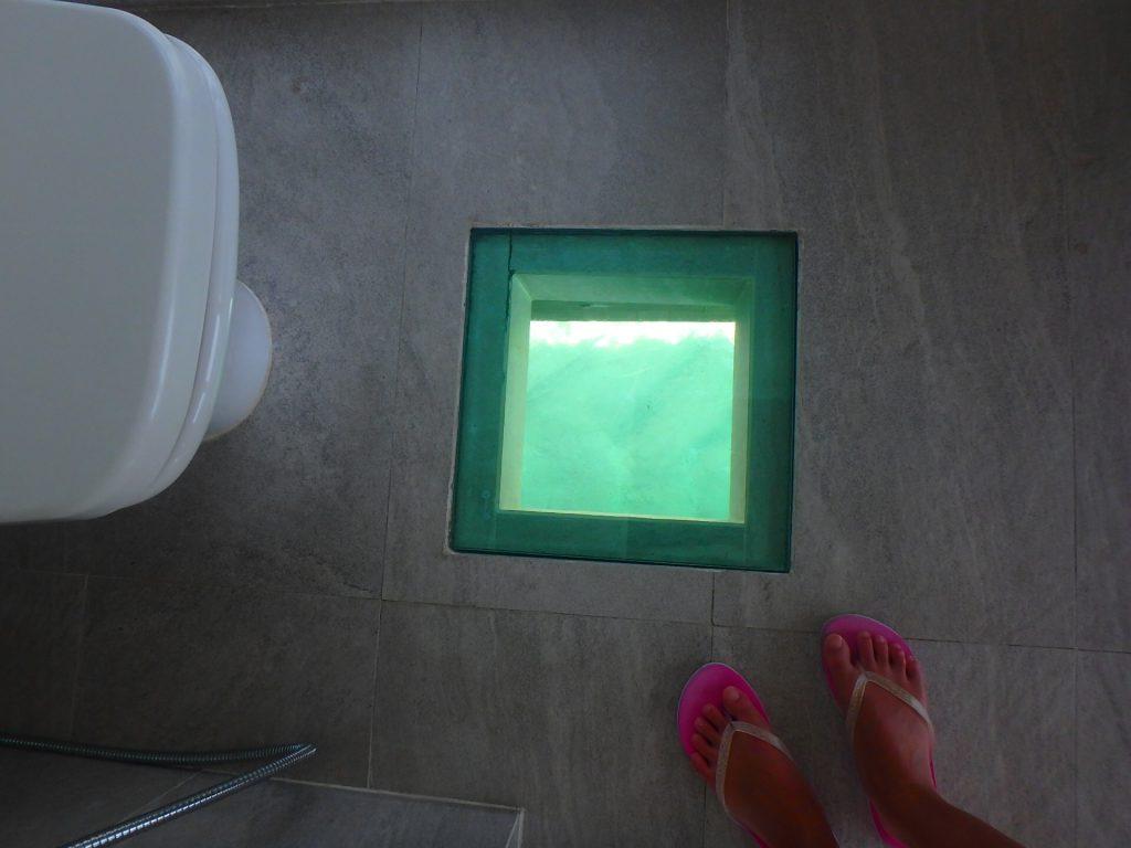モルディブ 魚が見えるトイレ