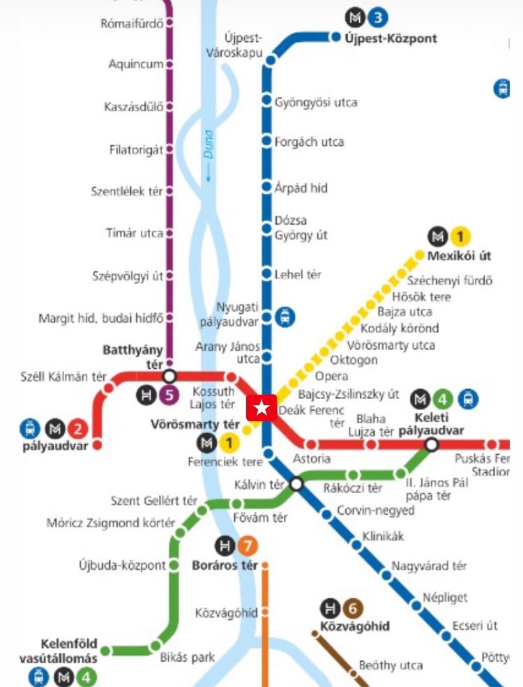 ブダペスト メトロ 路線図 Deák Ferenc tér