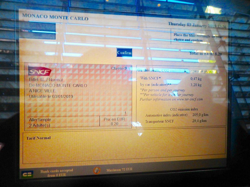 モナコからニース 電車 切符