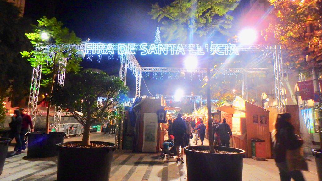 バルセロナ クリスマスマーケット 夜